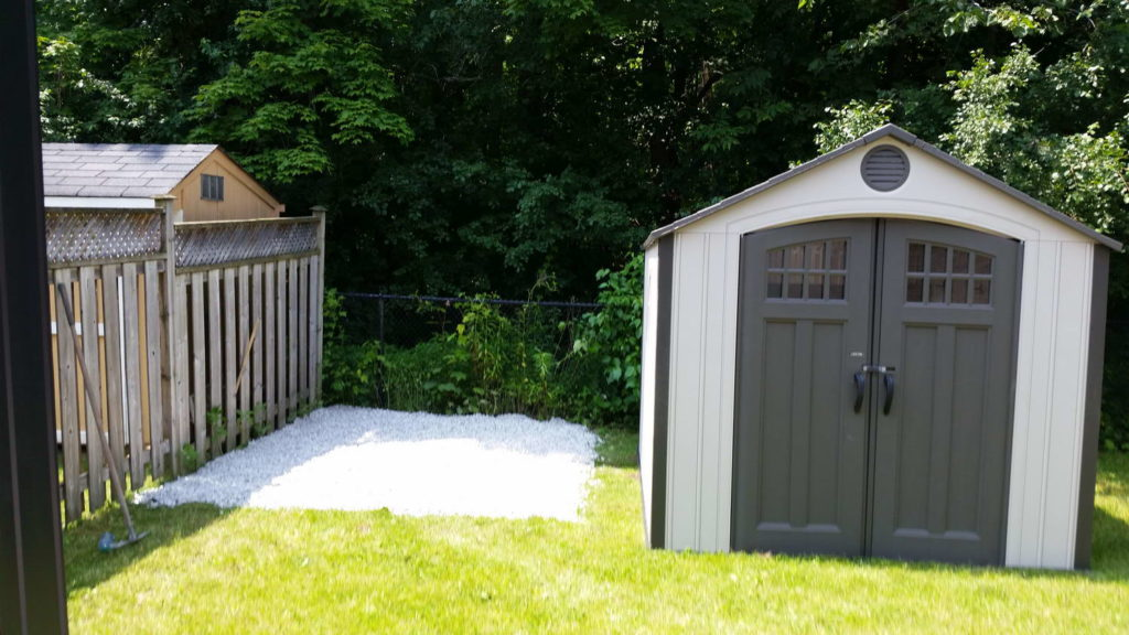Shed on gravel installation