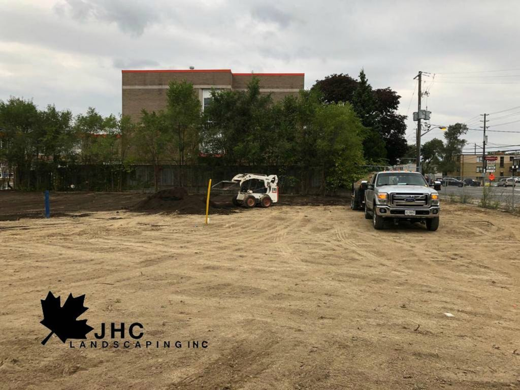 commercial sodding project removing old lawn - llandscaping york region