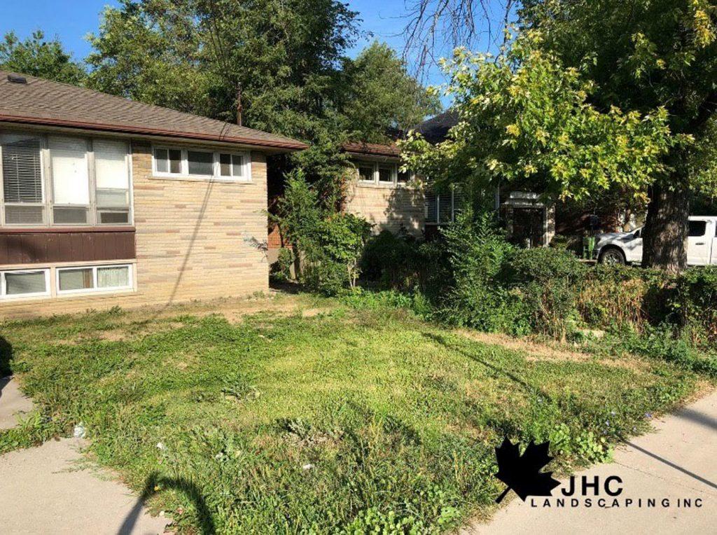 front yard lawn maintenance and sodding before -  asphalt driveway toronto