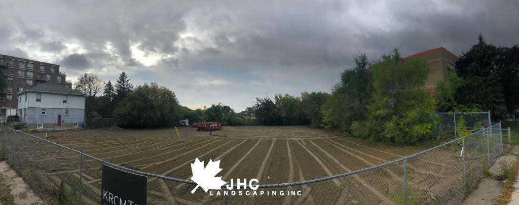 commercial sodding project getting the soil ready for sodding  - llawn care richmond hill