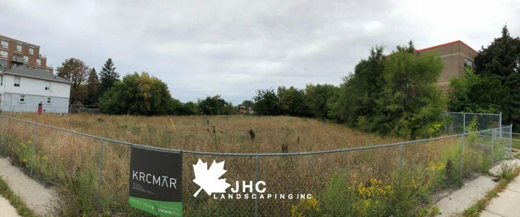 commercial sodding project before - landscaping richmond hill