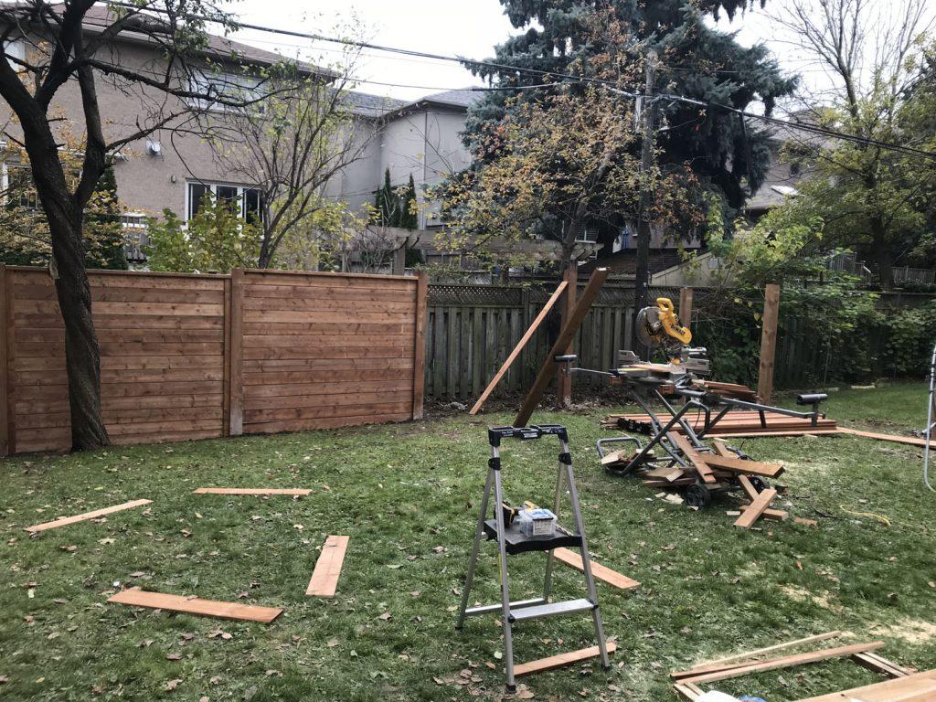 in progress of install custom fence - lawn service toronto