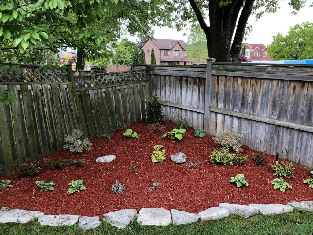 landscaping and interlocking in luxury garden