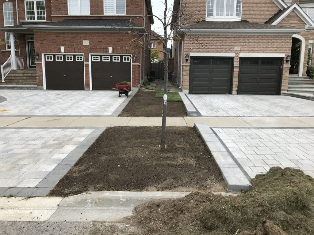 street lawn sodding in progress - snow removal north york