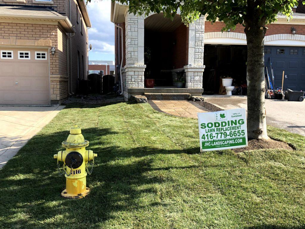 front yard sodding and interlocking finished project- driveway paving toronto