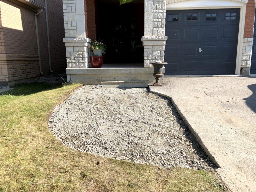 front yard sodding and interlocking in progress - where to buy sod in toronto