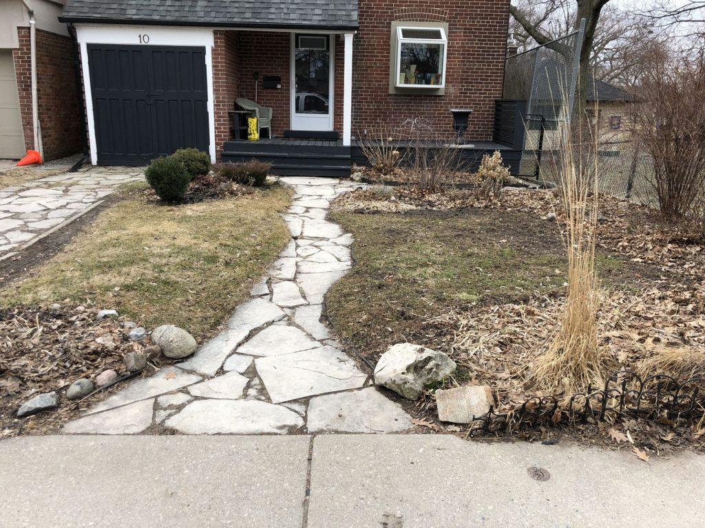 house sidewalk sodding and landscaped before- landscape maintenance toronto