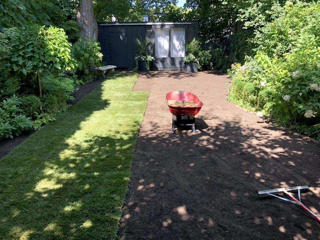 lawn restoration in progress -driveway sealing toronto
