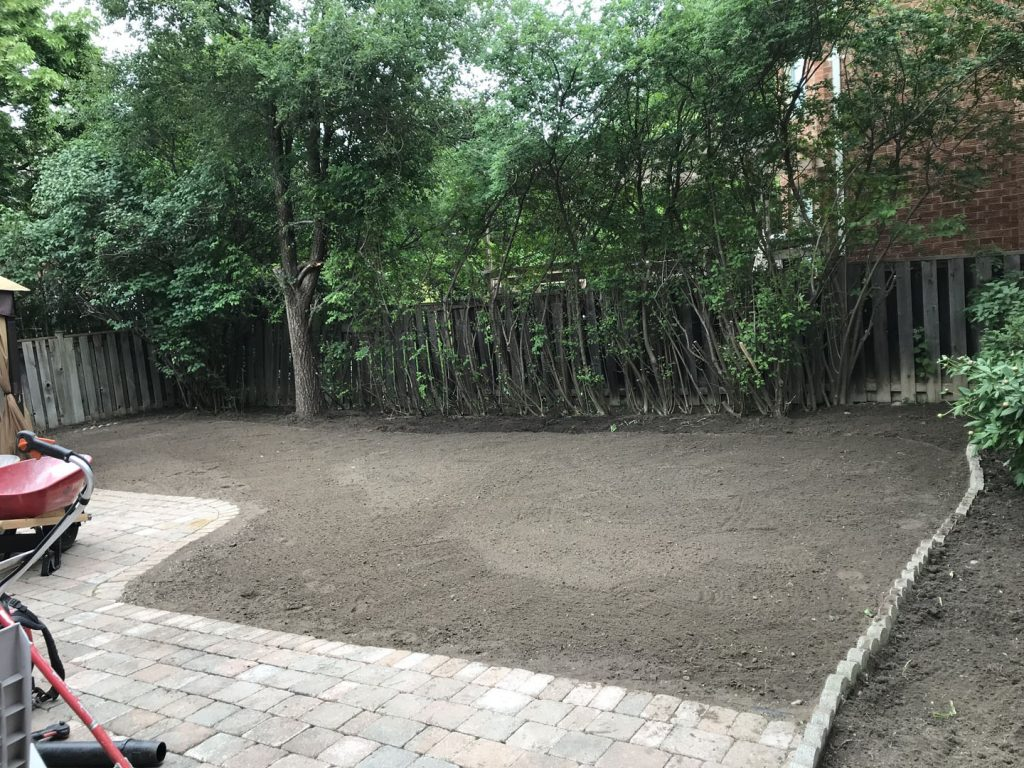 huge back yard sodding and landscaping in progress -sod farms toronto