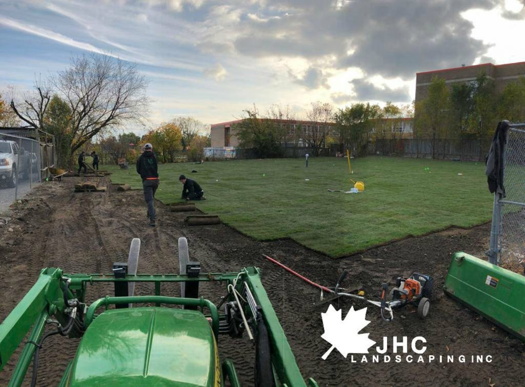 commercial sodding project lawn install in progress- lawn maintenance toronto