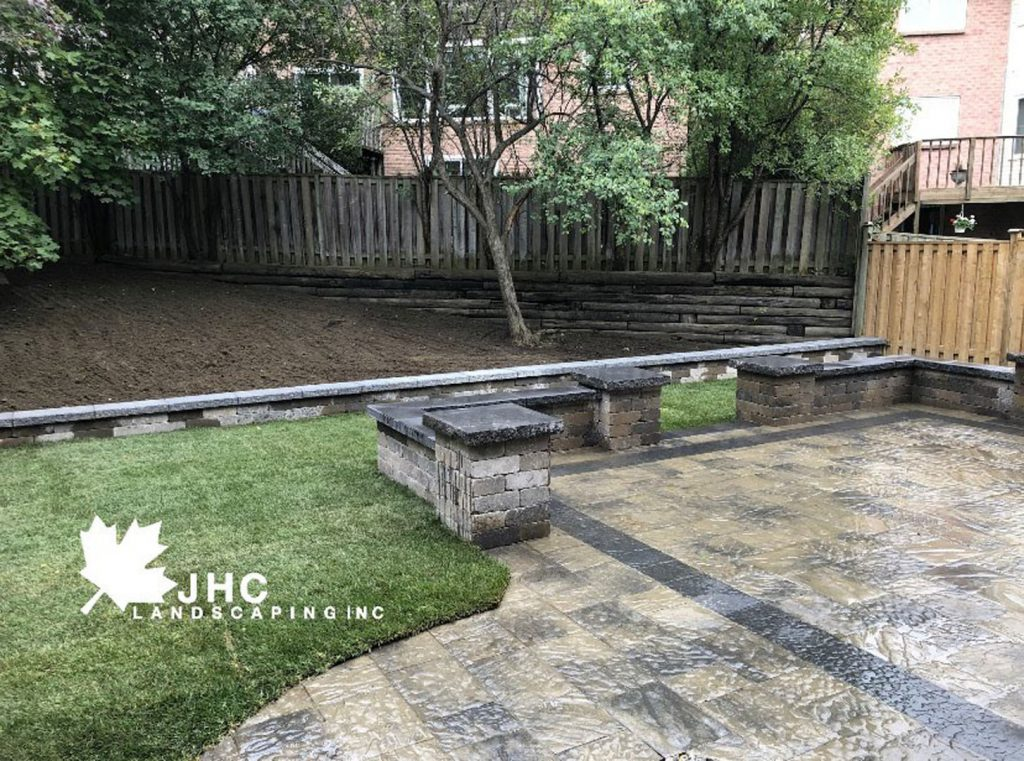 backyard patio interlocking - toronto landscaping company