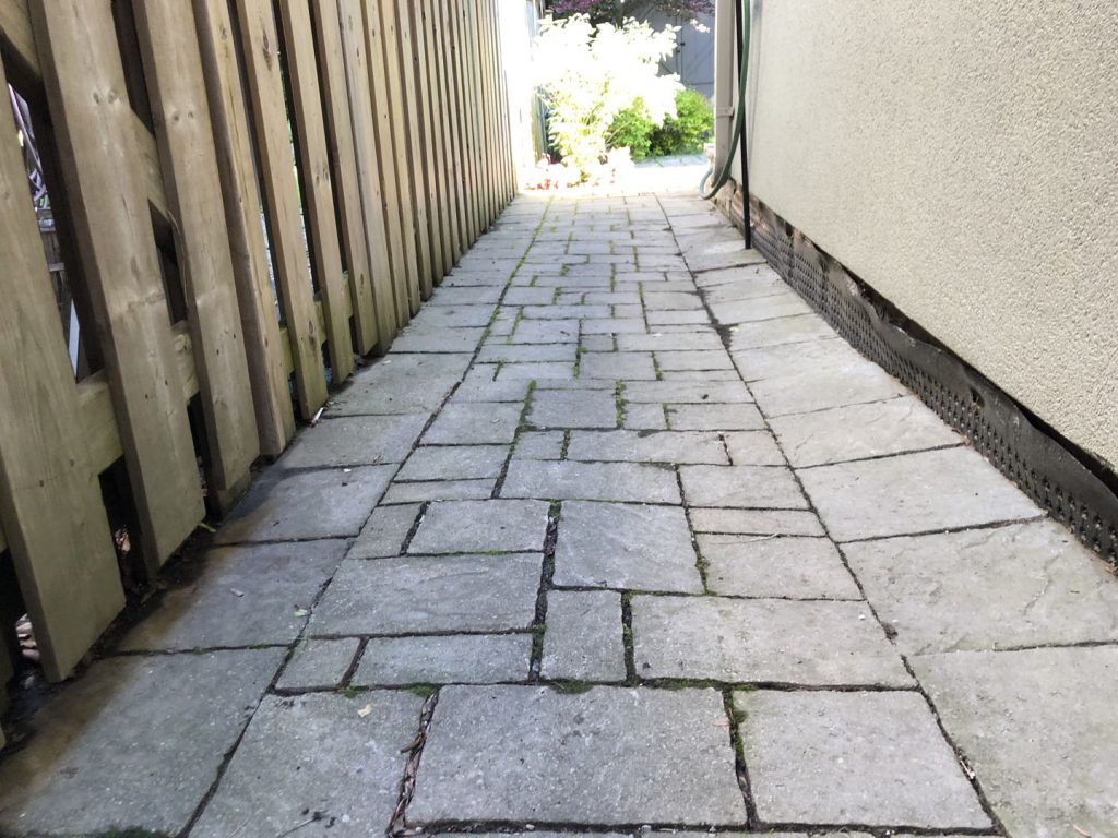 side alley interlocking before - landscaping richmond hill