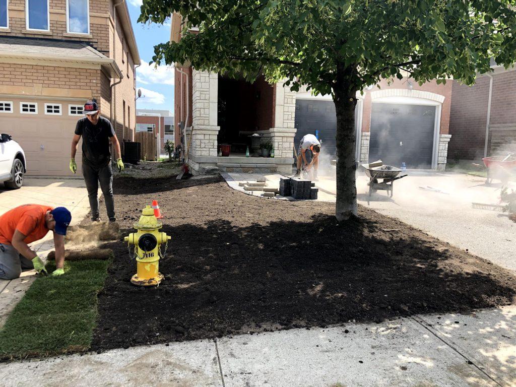 front yard sodding replacement in progress - asphalt sealcoating toronto