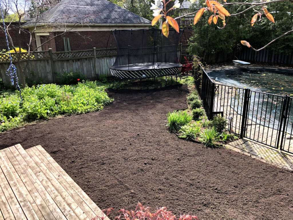Backyard with Soil Before Sodding Installation by JHC Landscaping